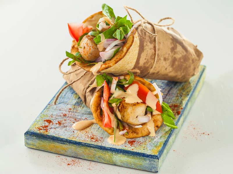 Pita bread with chicken souvlaki