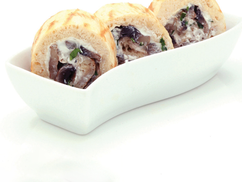 Mini rolls with mushrooms and cream cheese