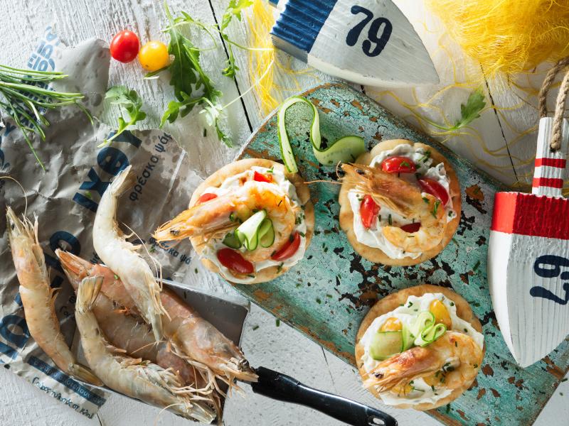 Μίνι πιτάκια Elviart με γαρίδα, τυρί κρέμα και αγγούρι